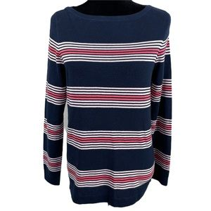 Tommy Hilfiger Navy Stripped Cotton Tunic Sweater